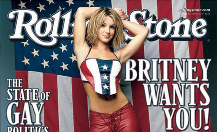 Britney Spears on the cover of Rolling Stone magazine in pants by Agatha Blois