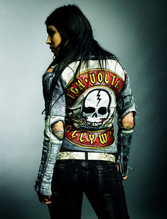 Kat Von D in custom leather jacket by Agatha Blois