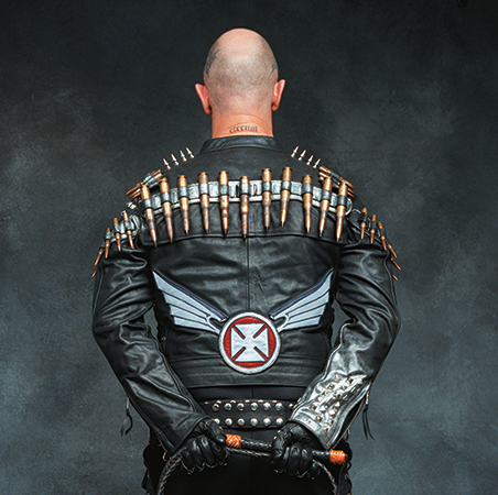 Rob Halford in custom leather jacket by Agatha Blois